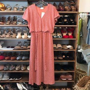 NWT Sienna Sky Pink Polka Dot Midi Dress